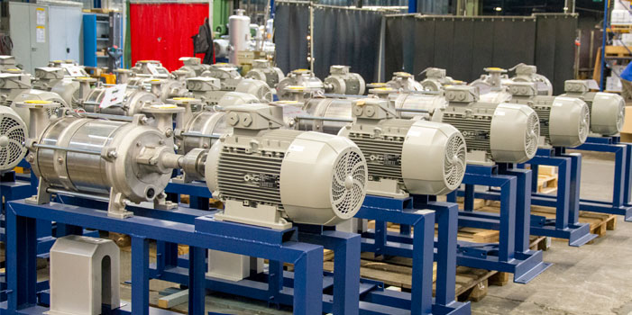 Series production of liquid ring vacuum pumps in the Körting plant in Hanover, Germany.