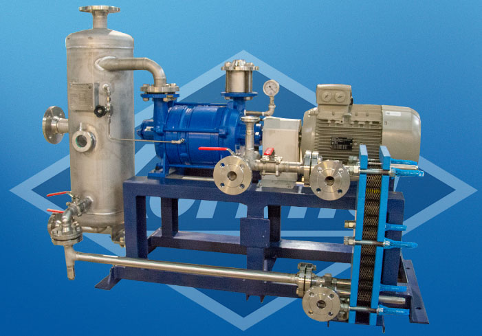Liquid ring vacuum pump in full recovery with plate heat exchangers operation