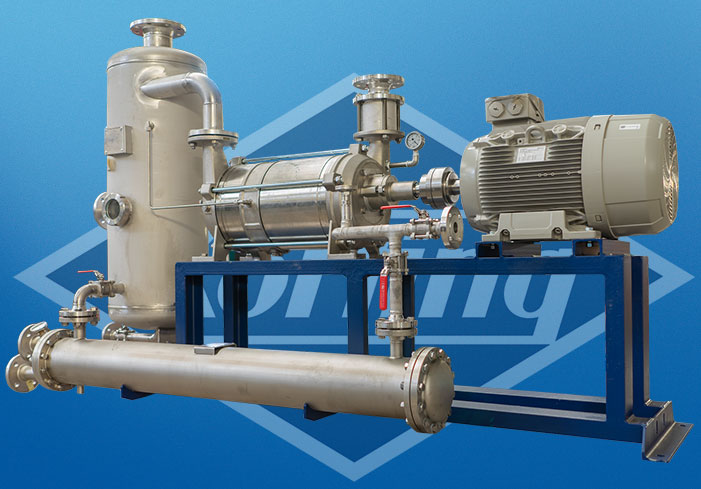 Liquid ring vacuum pump in full recovery with tube and shell heat exchanger operation